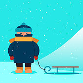 boy with a sled near the hill. vector illustration.