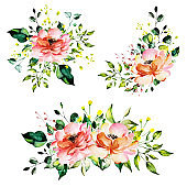 Beautiful Watercolor Floral Bunches Arrangement Collection