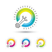 Bright colorful light bulb icon set.