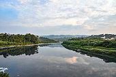 Heavily Polluted Tiete River Flowing Through Beautiful Landscapes in Santana de Parnaiba, Sao Paulo, Brazil