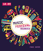 Music festival poster. Colorful music instruments. Vector illustration