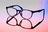 vintage glasses on light background. costume fashion concept