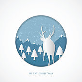 Merry Christmas abstract paper cut illustration of snow and deer head