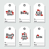 St Valentine's day gift tags. Printable tags collection. Love, romantic, wedding theme. Hand drawn holiday label. Handdrawn lettering phrase. Love wish.