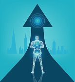 The man of the future. Future reality, artificial intelligence concept illustration. Neon man made of lights and abstract neon connections.