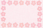 Japanese cherry blossom frame abstract on pink fabric background