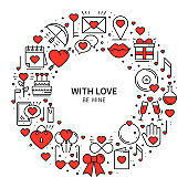 Circle frame with love symbols in line style. Love couple relationship dating wedding romantic amour concept theme. Unique Valentine day round print. Elements, icons.