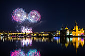 beautiful view on Colorful fireworks over Charles bridge and the river Vltava. The historical center of Prague. The Czech Republic 2018 New year.