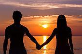 Lovers in honeymoon paradise