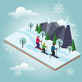 Isometric happy family skiing. Cross country skiing, winter sport. Olympic games, recreation lifestyle, activity speed extreme