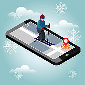 Isometric man skiing. Searching for cross country skiing in city. Winter sport. Mobile navigation. Olympic games, recreation lifestyle, activity speed extreme