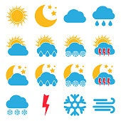 Set of sixteen Weather Icons. Multicolored icons for different weather conditions