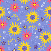 Seamless floral pattern with sunflower, bellflower on violet background