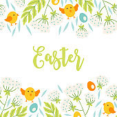 Easter greeting card with seamless floral border - chicken, flowers, eggs