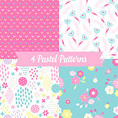 Seamless patterns with tulips, rhombus, circle, cross, flowers, drops