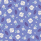 Seamless vector pattern with roses and leaves in Ultra Violet