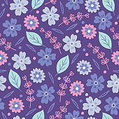 Seamless vector pattern with flowers, leaves and branches