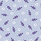 Seamless vector pattern with branches and flowers in Ultra Violet