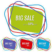 Set of four big sale stickers with abstract colorful chaotic lines around