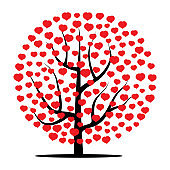 Tree with red hearts