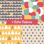 Seamless patterns with waves, triangles, ovals, cross in retro colors