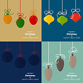 Set of four Merry Christmas and Happy New Year backgrounds