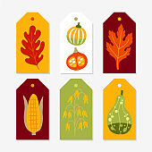 Autumn Gift Tags with pumpkins, corn, oat and leaves