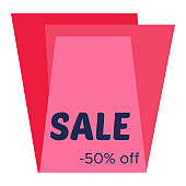 Sale sticker with abstract red geometric forms