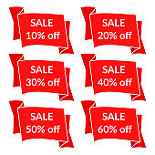 Set of nine sale stickers with different discount values