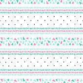 Abstract vector pattern with stripes in scandinavian style