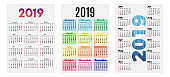 Set of three 2019 Calendars isolated on a white background
