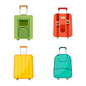 Set of four wheeled travel bags with luggage on white background