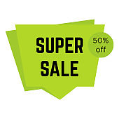 Green super sale sticker with text
