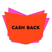 Cash back sticker with abstract colorful geometric forms