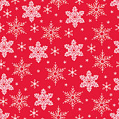 Christmas seamless pattern with snowflakes on red background