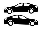 Two black car silhouettes on a white background