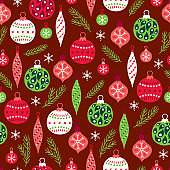 Christmas seamless pattern with fir branches, balls, baubles and snowflakes