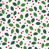 Christmas seamless pattern with berry, holly, snowflakes