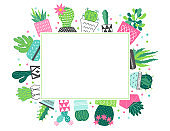 Summer greeting card with succulents in pots and rectangle label