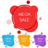 Set of four mega sale stickers with abstract colorful geometric forms