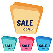 Set of four sale stickers with abstract colorful geometric forms