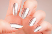 silver long nails manicure