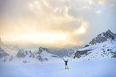 Winter snowboarding activity in high Alps