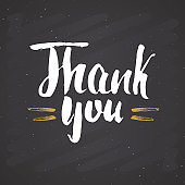 Thank you lettering quote, Hand drawn calligraphic sign. Vector illustration on chalkboard background