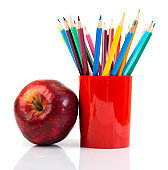 pencils and apple. Back to school concept.