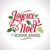 French Christmas Joyeux Noël Lettering Text