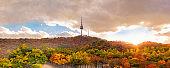 Autumn at Seoul tower Located on Namsan Mountain in Seoul, South Korea.