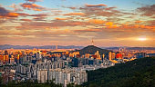 Seoul South Korea City Skyline at sunset with seoul tower.