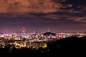 Seoul City SkyLine at night in South Korea.