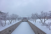 Gyeongbokgung Palace in winter of Seoul,South Korea.